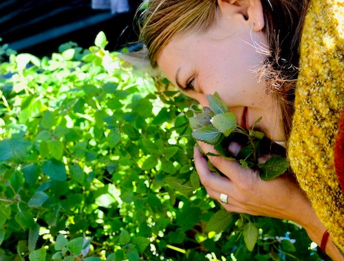 woman smells plant